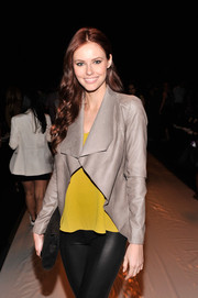 Alyssa Campanella oozed a modern vibe in a cutaway leather jacket during the Rebecca Minkoff fashion show.
