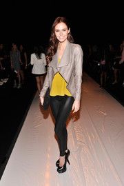 Alyssa Campanella sported super-high black platform pumps when she attended the Rebecca Minkoff fashion show.