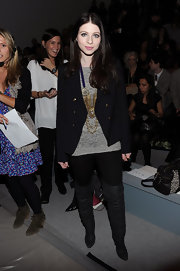 Michelle Trachtenberg stepped out at the Rebecca Taylor Fall 2011 show in gray leather over-the-knee boots.