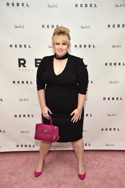 Rebel Wilson Pencil Skirt [clothing,pink,shoulder,dress,joint,fashion,magenta,little black dress,cocktail dress,footwear,rebel wilson,new york city,dia co,rebel wilson x,angels collection launch party]