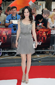Mary-Louise Parker went for a fun and flirty look with this intricately beaded skater dress with tulle cap sleeves with silver lace detailing.