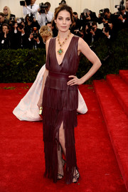 Michelle Monaghan rocked a fringed Altuzarra leather dress with a deep-V neckline at the Met Gala.