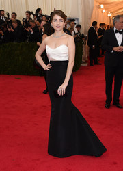 Anna Kendrick sported an Old-Hollywood-with-an-edge look during the Met Gala in a black-and-white J. Mendel strapless gown with front and back cutouts.