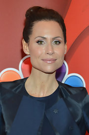 Minnie Driver chose a lovely fleshy pink lip color to soften her look on the red carpet.