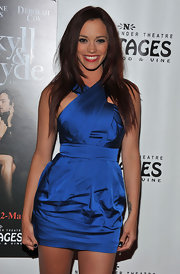 Jessica Sutta was seen at a red carpet event at the Pantages theater wearing a satin halter cocktail dress.
