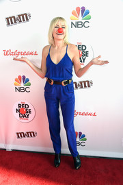 Malin Akerman kept it breezy in a royal-blue spaghetti-strap jumpsuit at the Red Nose Day Special on NBC.