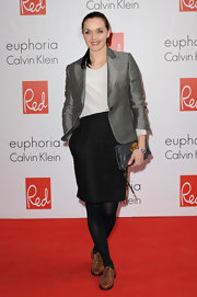 Victoria Pendleton's stylish silver blazer gave her a strong silhouette and a futuristic vibe.