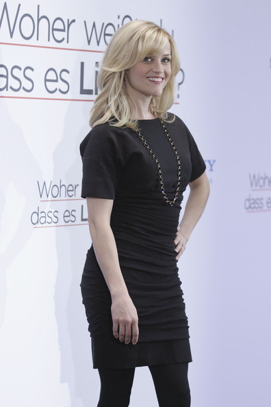 Reese Witherspoon Little Black Dress [hair,clothing,shoulder,little black dress,dress,blond,fashion,cocktail dress,hairstyle,beauty,reese witherspoon,photocall,how,know,germany,liebe,do you,woher,how do you know,berlin]
