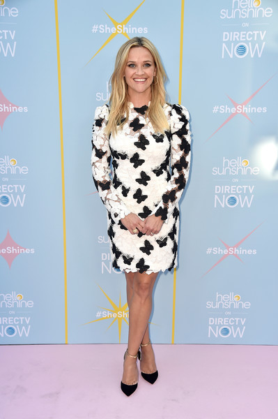 Reese Witherspoon Evening Pumps [shine on with reese,hello sunshine celebrate the launch,fashion model,flooring,fashion,catwalk,carpet,outerwear,fashion show,red carpet,fashion design,costume,arrivals,reese witherspoon,neuehouse hollywood,california,los angeles,at t,launch]