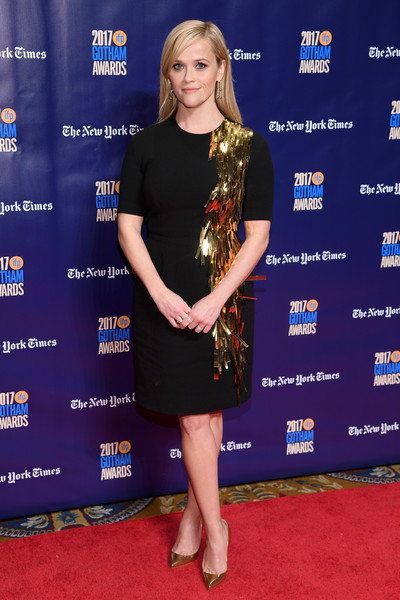 Reese Witherspoon Evening Pumps [red carpet,red carpet,clothing,carpet,cobalt blue,dress,electric blue,premiere,footwear,cocktail dress,little black dress,reese witherspoon,new york city,ifp,27th annual gotham independent film awards]
