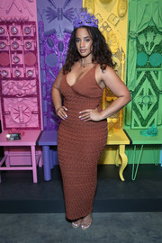 Dascha Polanco showed off her curves in a brown knit maxi dress at the 29Rooms: Turn It Into Art opening party.