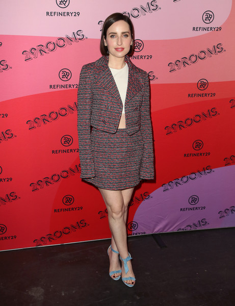 Zoe Lister Jones finished off her ensemble with a pair of blue knot-detail sandals.