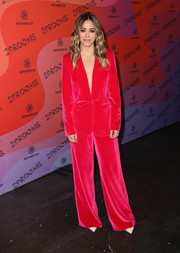 Chloe Bennet brightened up the black carpet with her Self-Portrait velvet pantsuit at the 29Rooms Los Angeles 2018.