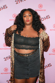 Lizzo accessorized with a leopard-print belt to match her robe at the 29Rooms Los Angeles event.