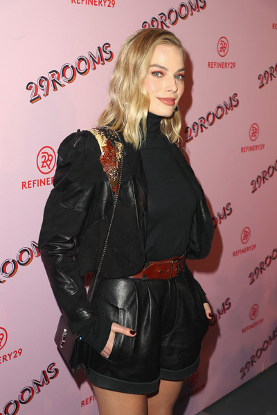 More Pics of Margot Robbie Short Suit (5 of 7) - Suits Lookbook - StyleBistro [photo,clothing,fashion,blond,leather,shorts,jacket,long hair,premiere,carpet,margot robbie,caption,los angeles,refinery29 29rooms,29rooms,row dtla,refinery29,getty images,turn it into art opening night party]
