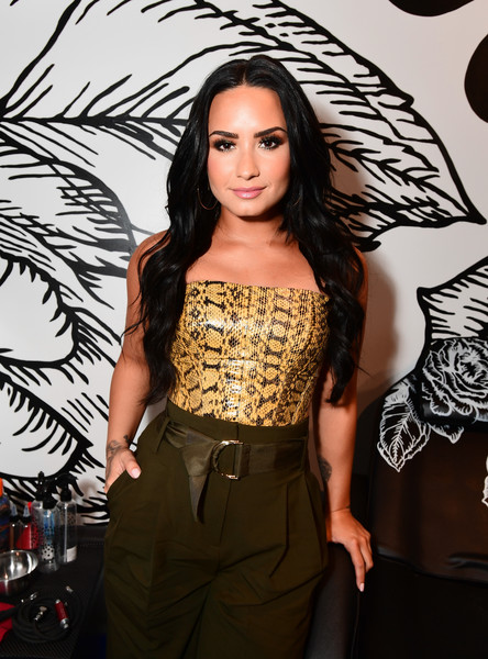 More Pics of Demi Lovato Pumps (3 of 9) - Heels Lookbook - StyleBistro [photo,clothing,beauty,fashion,long hair,hairstyle,dress,fashion model,black hair,brown hair,waist,demi lovato,caption,los angeles,refinery29 29rooms,29rooms,row dtla,refinery29,getty images,turn it into art opening night party]