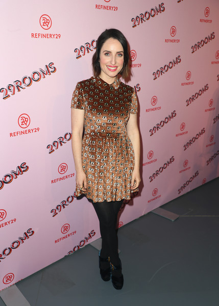 Zoe Lister Jones opted for a printed baby doll dress when she attended the Turn It Into Art opening night party.
