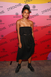 Zazie Beetz went casual in a slouchy strapless dress at the 29Rooms New York 2018 opening party.