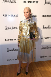 Kate Bosworth was all aglow in a gold and silver shirtdress by No. 21 at the School of Self Expression opening night party.
