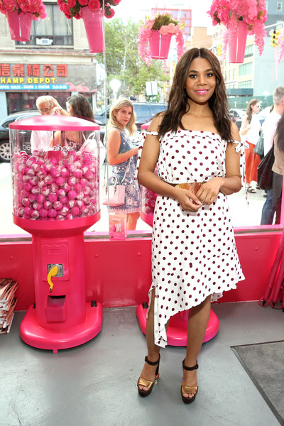 Regina Hall Off-the-Shoulder Dress [pink,polka dot,fashion,design,pattern,dress,peach,magenta,snack,food,celebrities,regina hall,vips,beautyblender,new york city,bounce liquid whip foundation,launch,launch]