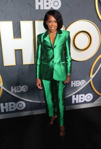Regina King Pantsuit [green,clothing,outerwear,fashion,jacket,fashion design,suit,footwear,electric blue,street fashion,arrivals,regina king,post emmy awards,the plaza,los angeles,california,pacific design center,hbo,reception,post emmy awards reception]