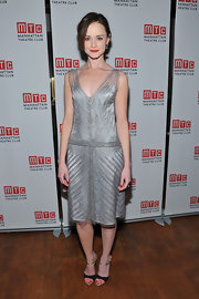 Alexis Bledel channeled the '20s in this silver beaded shift dress at the 'Regrets' opening.