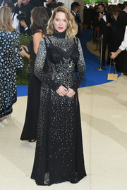 Lea Seydoux was edgy-elegant in a black Louis Vuitton gown with silver beading at the 2017 Met Gala.