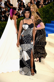 Kerry Washington channeled her inner rock star in a black and silver patchwork cutout gown by Michael Kors at the 2017 Met Gala.