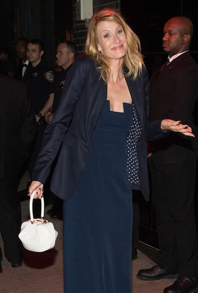 Laura Dern accessorized with the trendy Gabriela Hearst Nina bag, in white.
