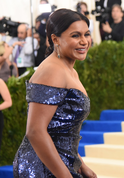 More Pics of Mindy Kaling Chignon (1 of 11) - Mindy Kaling Lookbook - StyleBistro [rei kawakubo/comme des garcons: art of the in-between,rei kawakubo/comme des garcons: art of the in-between,shoulder,clothing,dress,beauty,hairstyle,premiere,red carpet,strapless dress,joint,fashion,costume institute gala - arrivals,mindy kaling,new york city,metropolitan museum of art,costume institute gala]