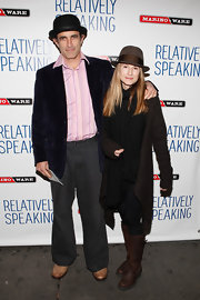 Holly Hunter layered a long black cardigan over a sleek black ensemble for the opening of 'Relatively Speaking.'