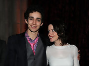 Robert Sheehan added a splash of color with this bright pink tie.