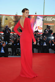 Kasia looked statuesque at the Venice Film Festival in this backless red gown.