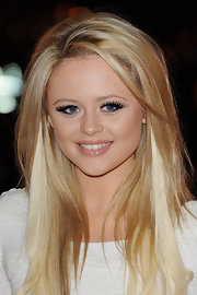 Emily Atack showed off her blonde locks which she highlighted with platinum blonde streaks. Her side-swept straight cut looked very glam when paired with her white frock.