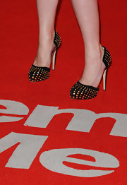 "Emille De Ravin showed off these killer studded pumps at the premiere of ""Remember Me"". These same exact heels were seen on the feet of Sarah Jessica Parker in a soft purple color, while she filmed ""Sex In The City""."