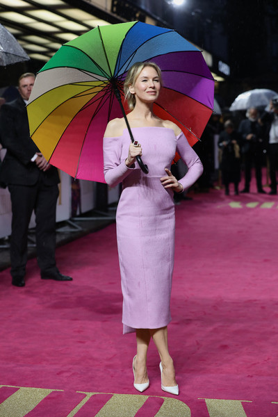 Renee Zellweger Pumps [umbrella,pink,purple,fashion,fashion accessory,magenta,event,flooring,carpet,red carpet,red carpet arrivals,judy,judy european premiere,renee zellweger,european,london,england,premiere,the curzon mayfair]