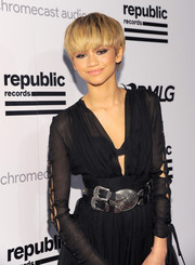 Zendaya Coleman gave her dress a dose of edge with an oversized, multi-buckle belt for the Republic Records Grammy celebration.