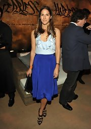 Minnie Mortimer wore this ice blue ruffled blouse to the Restoration Hardware Spring 2012 launch in LA.
