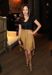 Autumn Reeser stepped out in this gold fishtail skirt at the Restoration Hardware Spring 2012 launch in LA.