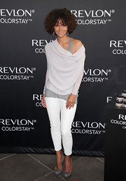 Halle Berry stepped out to a Revlon event wearing a chic pair of gray suede platform heels.