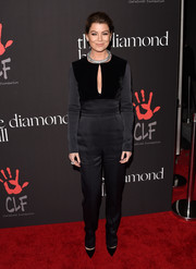Ellen Pompeo made a very sophisticated choice with this dual-textured, keyhole-neckline jumpsuit by Elie Saab for the Diamond Ball.