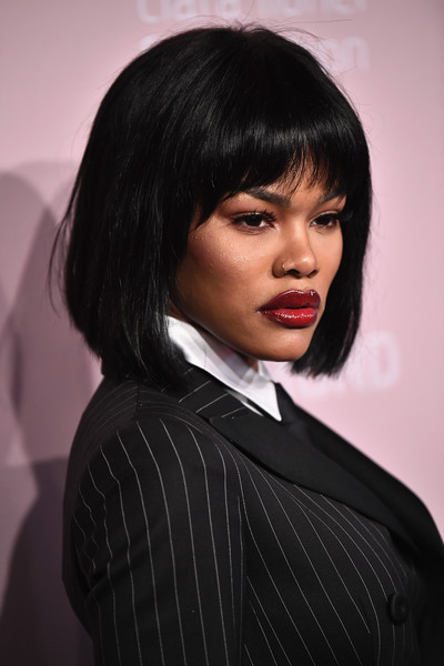 Teyana Taylor sported a bob with rounded bangs at the 2018 Diamond Ball.