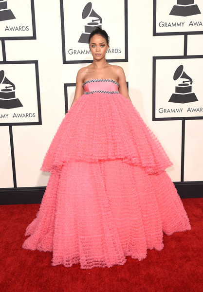Rihanna Strapless Dress [pink,flooring,carpet,gown,red carpet,dress,fashion,fashion model,haute couture,catwalk,gown,rihanna,grammy awards,red carpet,fashion,carpet,staples center,the 57th annual grammy awards,57th annual grammy awards,56th annual grammy awards,rihanna,57th annual grammy awards,56th annual grammy awards,58th annual grammy awards,59th annual grammy awards,grammy awards,dress,red carpet,gown,fashion]