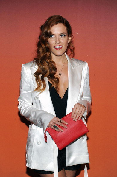 Riley Keough Leather Clutch []