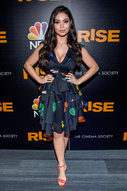 Auli'i Cravalho looked ultra girly in a low-cut, tiered print dress by Cynthia Rowley at the New York premiere of 'Rise.'