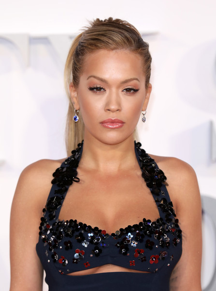Rita Ora Ponytail [fifty shades darker,hair,hairstyle,clothing,beauty,eyebrow,lip,blond,shoulder,dress,fashion,red carpet arrivals,rita ora,uk,london,odeon leicester square,premiere]