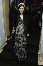 Stacey Bendet was all dolled up in a black velvet and lace coat layered over a frilly gown during the 'Gimme Shelter' NYC screening.