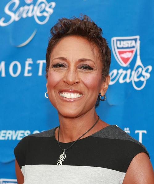 Robin Roberts Fauxhawk [hairstyle,smile,electric blue,robin roberts,new york city,usta billie jean king national tennis center,usta,opening night gala,usta serves opening night gala]