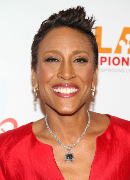 Robin Roberts Fauxhawk [gala of champions,hair,hairstyle,face,eyebrow,forehead,chin,lip,black hair,smile,lace wig,arrivals,coachart,robin roberts,beverly hills,california,the beverly hilton hotel,9th annual gala of champions]
