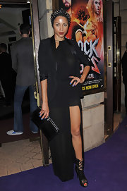 A black tux added a masculine touch to Ana Araujo's dress at the 'Rock of Ages' press night.